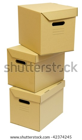 Three cardboard boxes stack for a moving day - stock photo