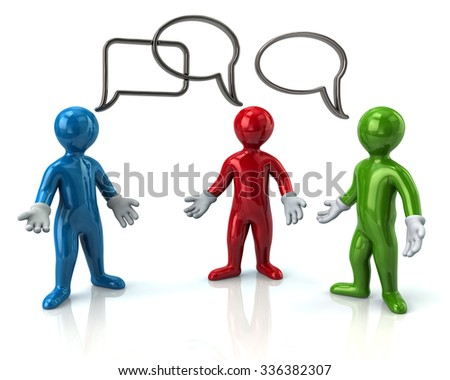 Three cartoon character men discussing isolated on white background - stock photo