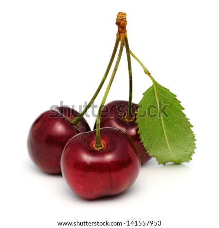 Three cherries isolated on white background with clipping path - stock photo