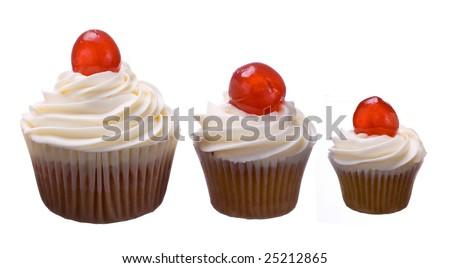 Three cherry cupcakes - stock photo