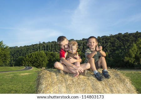 Three children on the roll of hay in the meadow - stock photo
