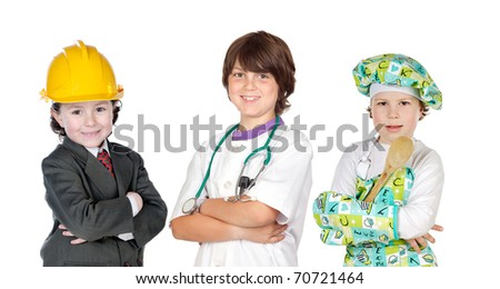 Three children with clothes of differents profession isolated on white - stock photo