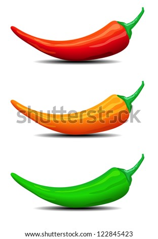 Three Chillies, Peppers, illustration,  Red, Green and Orange with shadows  - Raster Version - stock photo