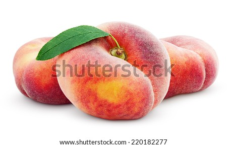 Three chinese flat donut peaches with leaf isolated on white with clipping path - stock photo