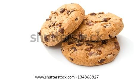 three chocolate chip homemade cookie biscuits - stock photo