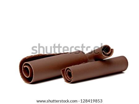 Three Chocolate Curls on white background - stock photo