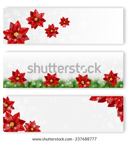 Three Christmas leaflets with flowers of poinsettia in snowfall - stock photo