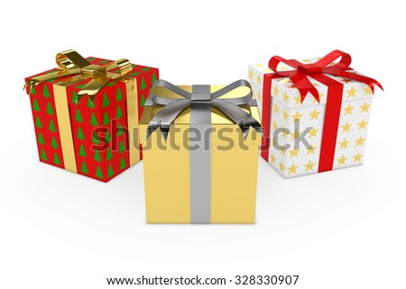 Three Christmas Presents tied with Ribbons isolated on white - stock photo