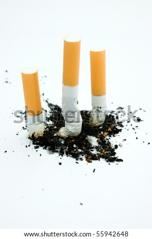 Three cigarette butts in a row isolated on white. - stock photo
