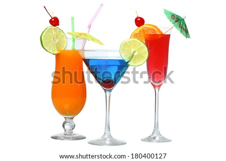 Three cocktails cutout, isolated on white background - stock photo