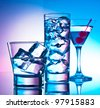 Three cocktails - martini glass, highball and old fashion - stock photo