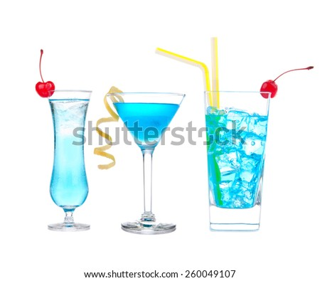 Three cocktails with alcohol margarita cocktail martini blue hawaian Iced tea with maraschino cherry isolated on a white background - stock photo