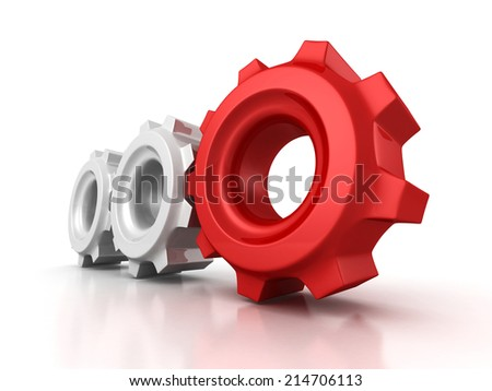 Three cogwheel gears with red leader on white background. 3d render illustration - stock photo