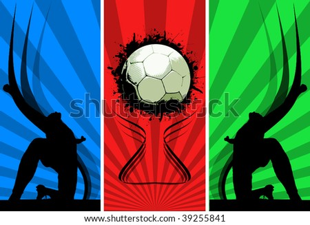 Three color Grunge Soccer backgrounds - stock photo