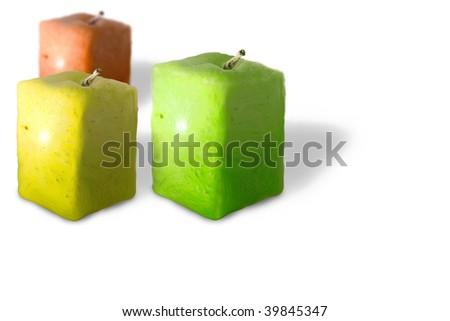 three colored apples square - stock photo