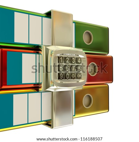 three colored folders with metallic electronic lock, stores important information - stock photo