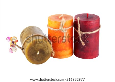 three colorful candles  isolated on white background  - stock photo
