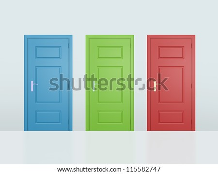 Three colorful closed doors on gray wall. - stock photo