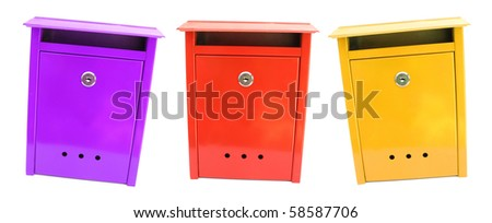 Three colorful mailboxes - stock photo