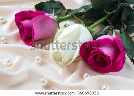Three colorful roses on pink satin fabric with pearls - stock photo