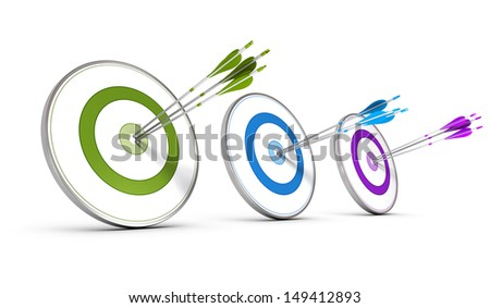 Three colorful targets with arrows hitting the center, concept image for achieving business objectives  - stock photo