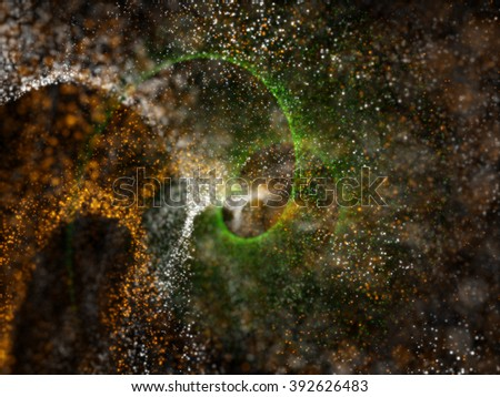 three colors orange, white and green particles for background - stock photo