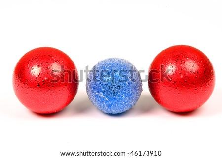 three coloured balls against white background - stock photo