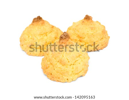 Three cookies with coconuts isolated on white background - stock photo