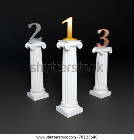 Three corinthian columns supporting golden, silver and bronze numbers. - stock photo