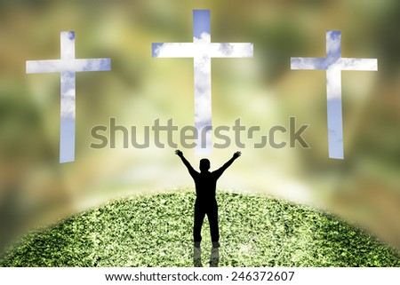 Three Crosses on a blur wall at blue sky and faith - stock photo