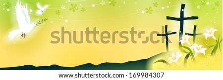 Three crosses on a hill surrounded by lilies. - stock photo