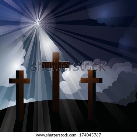 Three crosses on a hill with bright light rays shining through blue and white clouds onto the middle cross, representing the crucifixion of Christ.  - stock photo