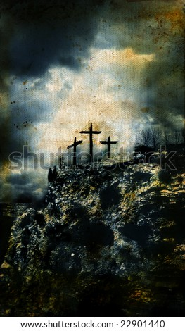 Three Crosses on Golgotha in Israel with a grunge background. - stock photo