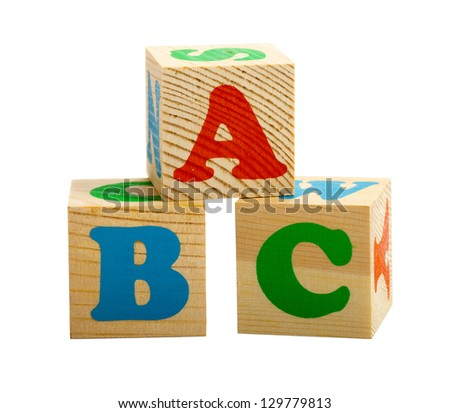 Three cubes with ABC letters isolated on white background - stock photo