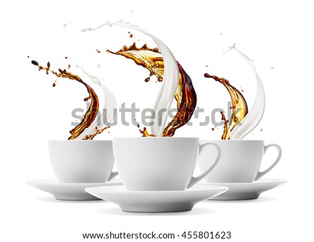 three cups of coffee and milk splashing - stock photo