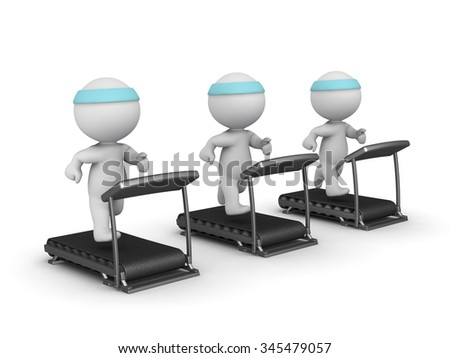 Three 3D characters running on treadmills. Isolated on white background.  - stock photo
