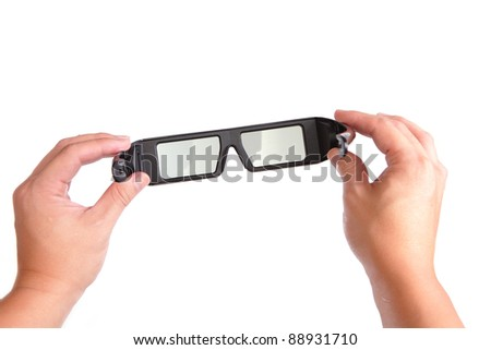 three-D (3D) eyeglasses (active glasses ) for LCD TV - stock photo