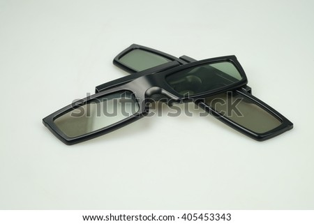 three-D eyeglasses (active glasses ) for LCD TV, isolated on white background - stock photo