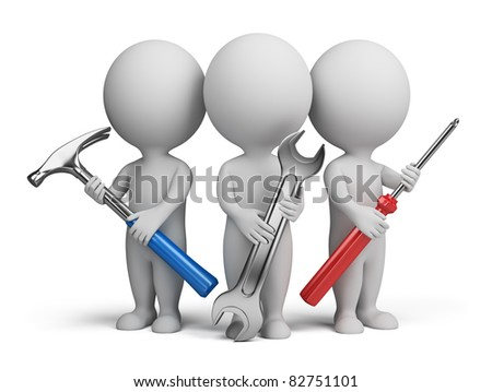 Three 3d people with the tools in the hands of. 3d image. Isolated white background. - stock photo