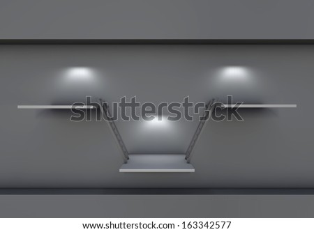 three 3d shelves, spotlights and ladders for exhibit in the grey interior - stock photo