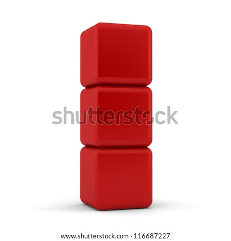 Three 3d simple red cubes with blank faces and equilateral sides that are bevelled , rounded and shaped stacked one on top of the other in a tower formation on a white background - stock photo