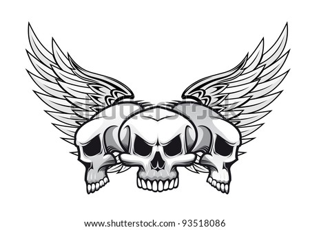 Three danger skulls with wings for tattoo or mascot design. Vector version also available in gallery - stock photo