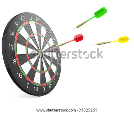 Three darts arrows flying into board, isolated on white background - stock photo