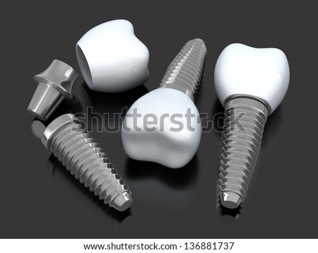 Three Dental implant (done in 3d) - stock photo
