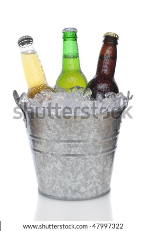 Three Different Beer Bottles in bucket of ice with condensation vertical composition over white background - stock photo