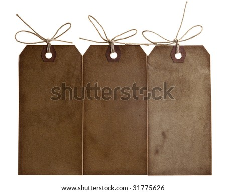 three different grunge paper tags with bow string, isolated on white - stock photo