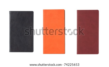Three different notebooks isolated over white - stock photo