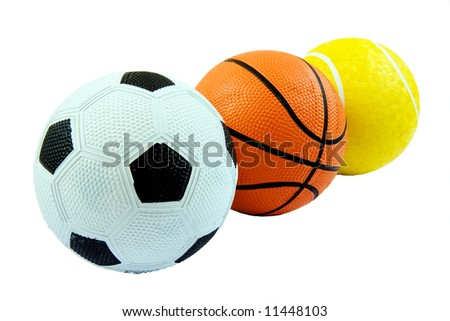 Three different sports balls in a row against white - stock photo