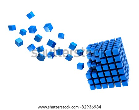 Three-dimension blue multitude of cubes - stock photo