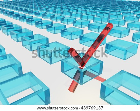 Three Dimension Check Mark 3D Render - stock photo